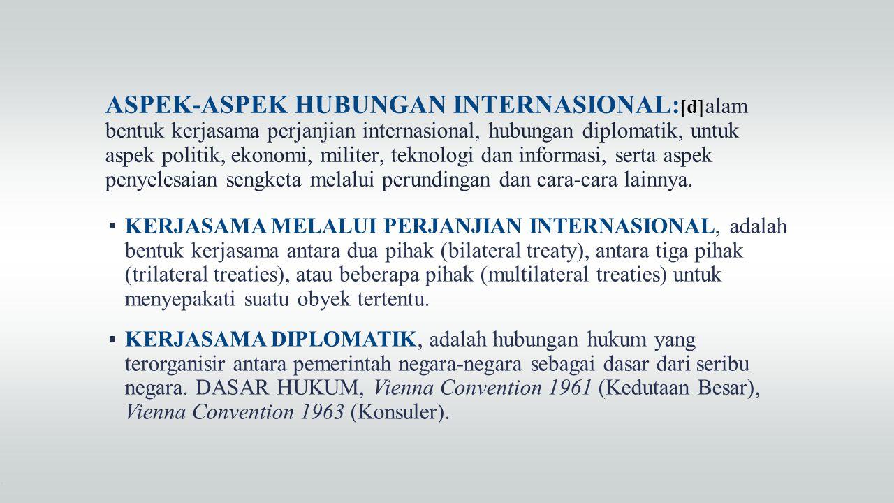 ASPEK-ASPEK HUBUNGAN INTERNASIONAL:[d]alam bentuk kerjasama perjanjian internasional, hubungan diplomatik, untuk aspek politik, ekonomi, militer, teknologi dan informasi, serta aspek penyelesaian sengketa melalui perundingan dan cara-cara lainnya.